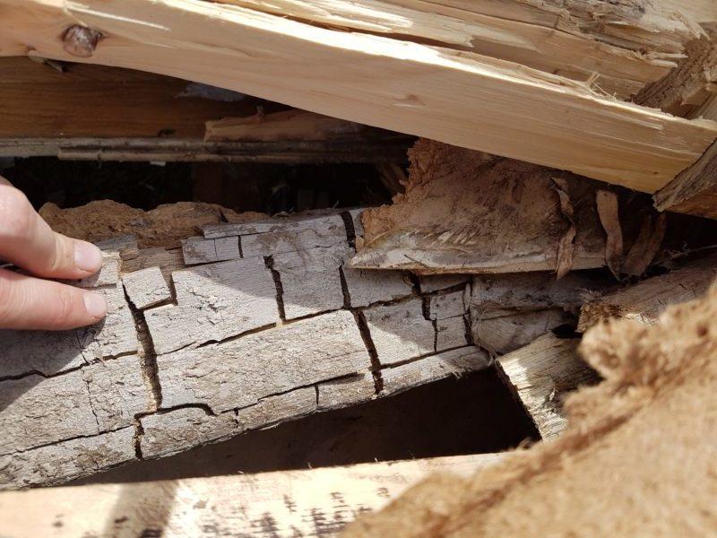 Bjelken har sprukket opp i rektangulære biter