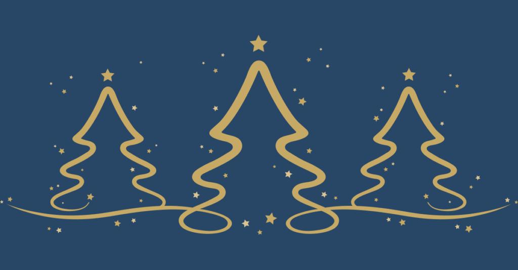 Tre julætrer med stjerner