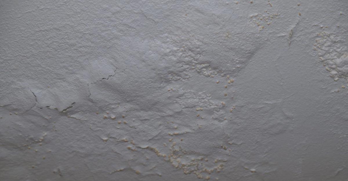 Saltutslag bak mallingssjikt på kjellervegg. Malingen buler og har begynt å sprekke opp.